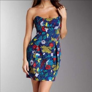 French Connection Strapless Floral Flower Dress